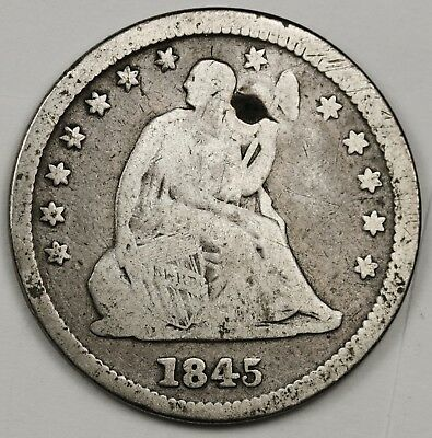 1845 Liberty Seated Quarter.  V.G. Detail.  129392