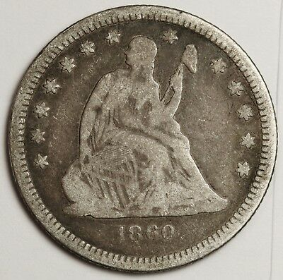 1860-o Liberty Seated Quarter.  Fine.  129397