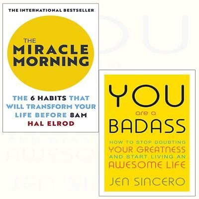 You Are a Badass Embrace self care Miracle Morning 2 Books Collection Set NEW