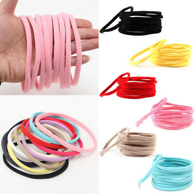 10PC Baby Girl Nylon Elastic Rope Ring Headband Kids Skinny HairBand Headwear UK