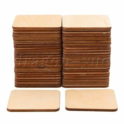 50Pieces Round Corner 5x5cm Square Wood Pieces for DIY Engraving Carving