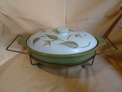 Retro DENBY ENGLAND Ovoid Casserole Dish in Gold Metal Stand Avo Green..Perfect