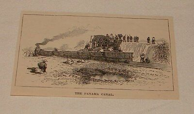 small 1891 magazine engraving ~ THE PANAMA CANAL