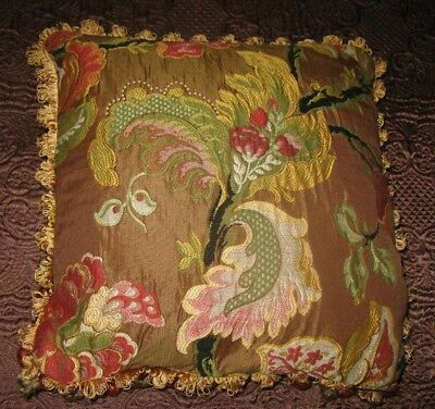 Large Throw Toss Pillow Tassels Embroidered Luxurious Rich Jewel Colors Tassels