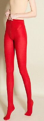 Semi Opaque Ribbed Designer Tights One size 8-14 uk, 36-42 eu Red