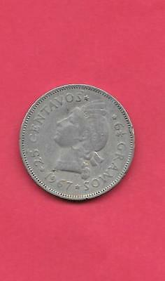 DOMINICAN REPUBLIC KM20a.1 1967 VF-VERY FINE-NICE OLD VINTAGE 25 CENTAVOS COIN