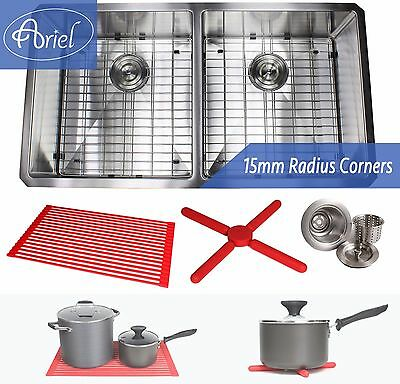 "Ariel 37"" 15mm Radius Stainless Steel Double 50/50 Bowl Kitchen Sink Combo 16G"