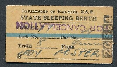 QN1097u New South Wales State Sleeping Berth issued Junee 1953 FREE POSTAGE
