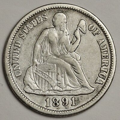 1891-s Liberty Seated Dime.  V.F.  127683
