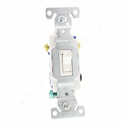 Cooper Wiring White Quiet Toggle Wall Light Switch 3-WAY 15A 120V Bulk 1303-7W