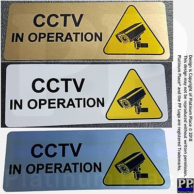 Aluminium Sign-CCTV In Operation-WITH IMAGE-Metal-Warning Security Office Shop