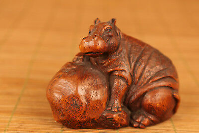Rare Chinese Old Boxwood Hand Carved Hippo Statue Netsuke Ornament Collectable