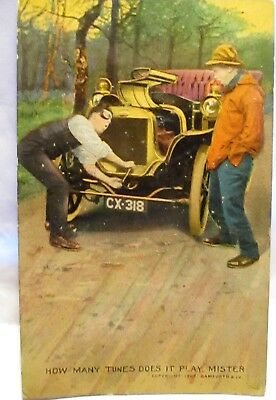 1907 Postcard Man Cranking Old Car,how Many Tunes Does It Play Mister?