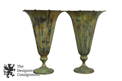 """2 Art Deco Style Rustic Painted Metal Trumpet Vases Urn Fluted Green Patina 15"""""""