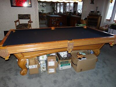 Brunswick 8 Foot Slate Pool Table, Chairs, Pictures U0026 Accessories