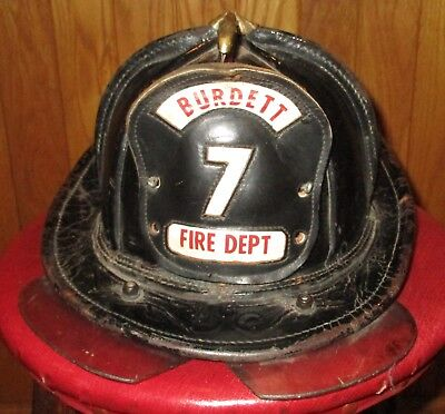 Early Antique Leather Eagle Fire Helmet Burdett, New York Burdett 7 Fire Dept