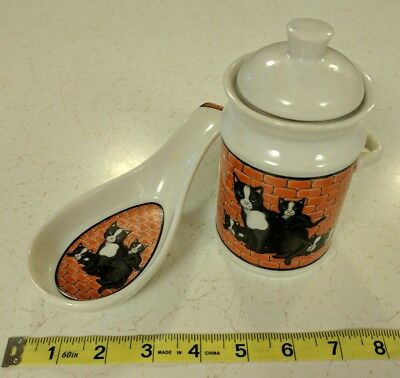 City Cat San Francisco Spoon Rest & Canister Black/White Cats Against Red Bricks