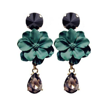 Vintage Statement Flower Crystal Earrings Drop Ear Dangle Women Jewelry Holiday