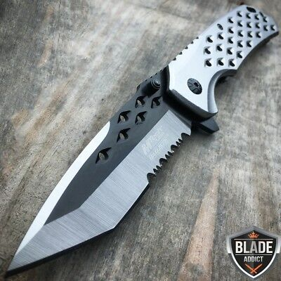 "8"" Ballistic Silver Tanto TACTICAL Spring Assisted OPEN Folding Pocket Knife - y"