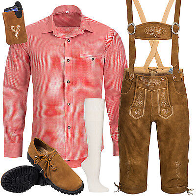 Traditional Costume Set 6pcs Men's Leather Trousers with Suspender Shirt Shoes