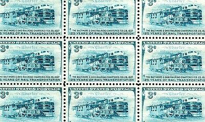 1952 - B&O RAILROAD - #1006 Full Mint -MNH- Sheet of 50 Postage Stamps