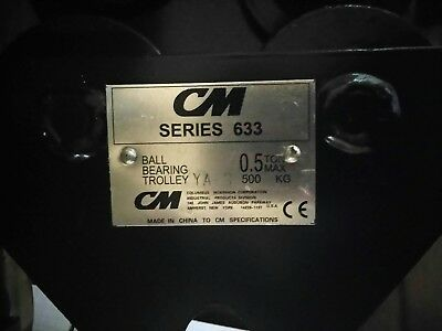"NEW 1/2 Ton CM 633 Series Push Trolley 2.50"" to 5.625"" Beam Flange Width"