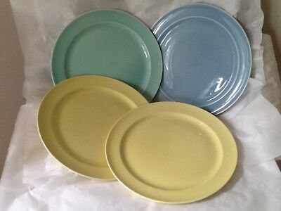 "Four LuRay T. S. T. Excellent Dinner Plates 10"" Yellow Blue Green"