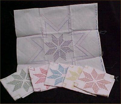 6 Vintage Antique Quilt Block Cotton Fabric Hand Embroidered Kit 1950s STARS