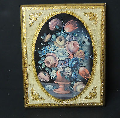 Florentine Gilt Wall Plaque Floral Still Life Cream Gold Vintage Italy