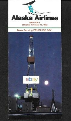 Alaska Airlines System Timetable 2-15-82 Now Serving Prudhoe Bay-Route Maps 727