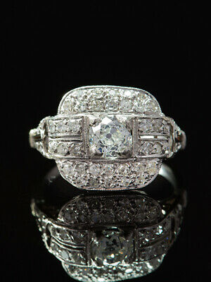 ANTIQUE WHITE ART DECO FRENCH 2.27 Ct DIAMOND TIMELESS CLUSTER HALO RING