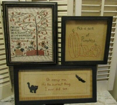 Primitive Early Style 3 FALL HALLOWEEN Embroidery FRAMED STITCHERY Pumpkin CAT