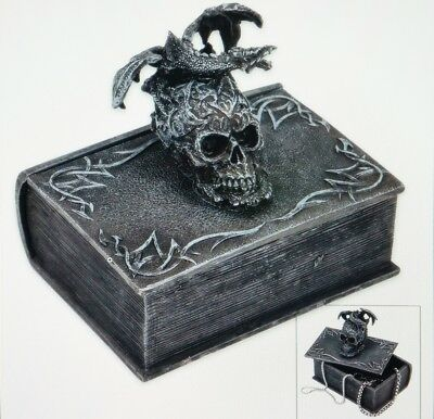 Terror Tome Trinket Box - Book-Shaped Polyresin Topped by Skull, Winged Dragon