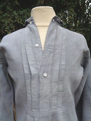 ANTIQUE FRENCH LINEN SHIRT TUNIC HAND DYED BLUISH GRAY WORK SMOCK 19th