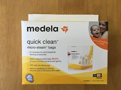 Medela Quick Clean 5 Micro-Steam Bags Microwave Sterilize 1 box 5 total Bags NEW