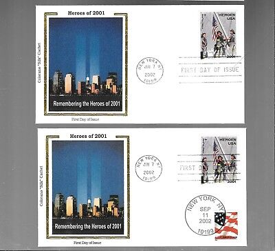 Us Fdc  Herloes Of  2001 2002  Lot Of 2  Colorano Silk