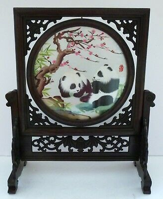 Vintage Chinese Panda Bear Sichuan Silk Embroidery Rosewood Frame Picture HUGE