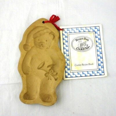 Vtg Brown Bag Cookie Art Xmas Bear Horn Mold & Recipe Book Hill Design 1990 NEW
