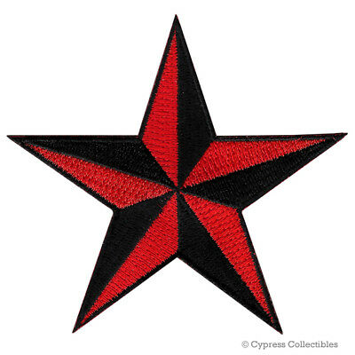 BLACK RED NAUTICAL STAR IRON-ON PATCH embroidered NAVY VET TEXAS FLAG EMBLEM new