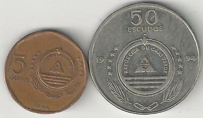 2 DIFFERENT COINS from CAPE VERDE - 5 & 50 ESCUDOS (BOTH DATING 1994)