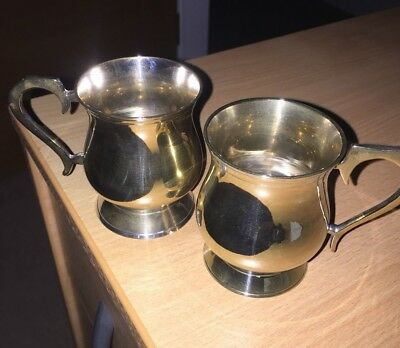 Vintage Silver Plate Christening Mugs x 2