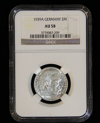 NGC AU-58 1939-A Third Reich Germany Two Reichsmark Silver Coin WWII Third Reich