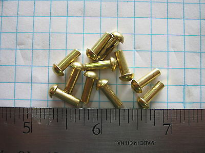 25 Solid brass 1/8 X 3/8 round head rivets SCA armor steampunk costume model