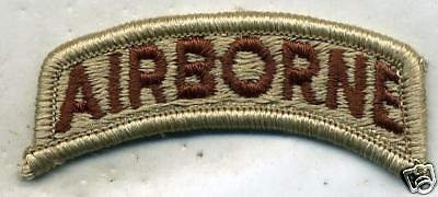 US Army Airborne DCU Desert Tan Tab Patch