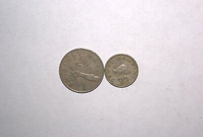 2 DIFFERENT COINS from TANZANIA - 50 SENTI w/ RABBIT & 1 SHILINGI (BOTH 1981)