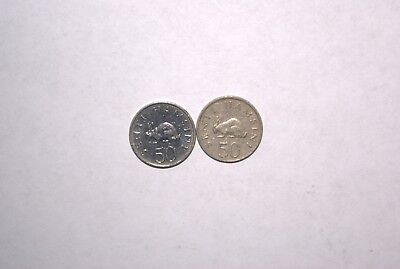 2 DIFFERENT 50 SENTI COINS w/ RABBITS from TANZANIA DATING 1984 & 1989 (2 TYPES)