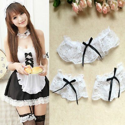 Hot Cosplay Lady Elastic Lace Bow Bridal Thigh Garter Belts Leg Ring + Bracelets