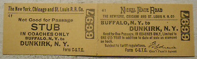 New York, Chicago & St. Louis Railroad ticket Buffalo to Dunkirk, New York
