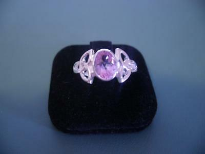 Sterling Silver 925 Created Pink Topaz Celtic Ring - Size 8 / Q - 3G