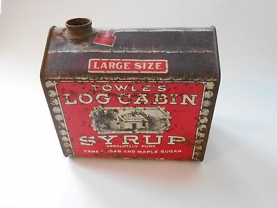 Vintage X-Large Size Towle's Log Cabin Syrup Tin